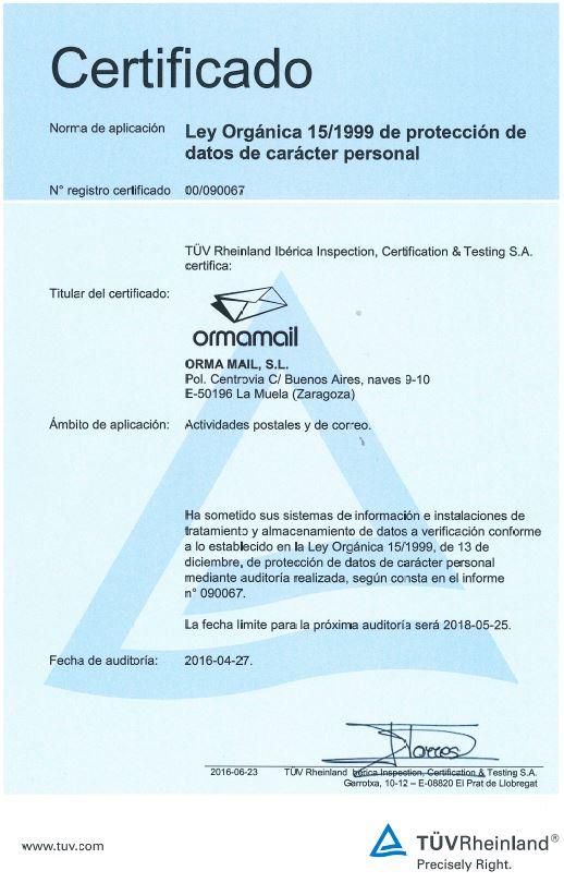 certificado LOPD Ormamail